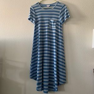 LulaRoe Carly Dress - Blue and White Stripe